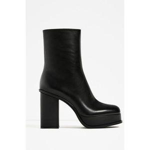 Zara Black Leather Ankle Platform Boots